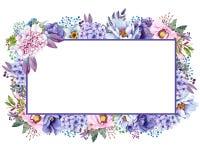 De mooie Waterverfmunt bloeit kader Nodigt het munt gouden huwelijk malplaatje uit stock illustratie