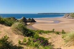 De mooie Welse de toeristenbestemming van Gower Wales Three Cliffs Bay het UK Royalty-vrije Stock Foto's
