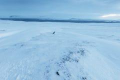 De mooie winderige en behandelde sneeuw van het de winterlandschap in IJsland Royalty-vrije Stock Foto's