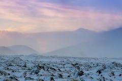 De mooie winderige en behandelde sneeuw van het de winterlandschap in IJsland Royalty-vrije Stock Foto