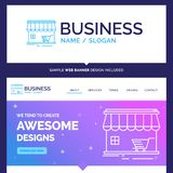 De mooie winkel van de Bedrijfsconceptenmerknaam, opslag, markt, bouwt stock illustratie