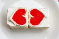 Het hart van de cake Stock Foto's