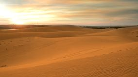 De mooie Woestijn van Zandduinen in Veitnam, Landschapsbeeld in de zonsondergangtijd bij de zomer royalty-vrije stock foto