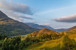 De mooie zonsondergang bij Loch leven in Schotland, Grote Brittain Royalty-vrije Stock Fotografie