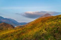 De mooie zonsondergang bij Loch leven in Schotland, Grote Brittain Stock Afbeelding