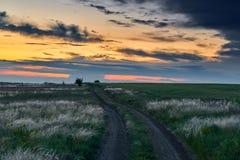De mooie zonsondergang is op het gebied met grondweg, wild bloemen en gras, zonlicht en donkere wolken Stock Afbeeldingen