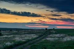 De mooie zonsondergang is op het gebied met grondweg, wild bloemen en gras, zonlicht en donkere wolken Royalty-vrije Stock Fotografie