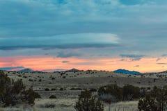 De mooie zonsopgang van New Mexico over de winterlandschap, Magdalena stock foto's