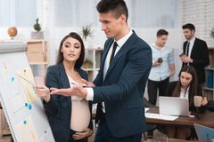 De mooie zwangere vrouw met de jonge mens in kostuum bestudeert grafieken en diagrammen op flipchart royalty-vrije stock foto