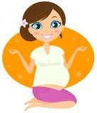 De mooie zwangere vrouw in yoga stelt Stock Foto's