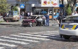 De moord van een prominente journalist Pavel Sheremet in Kiev, de Oekraïne Stock Foto