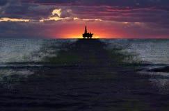 De Morserij van de Olie van de Put van de zeeBoring, Olievlek, Verontreiniging Stock Foto