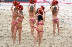 De Moscou da glândula da batida do competiam o voleibol 2015 de praia Rússia Moscou 31 pode 2015 Imagens de Stock Royalty Free