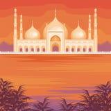 De moskee en de zonsondergang stock illustratie