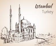 De Moskee van Istanboel Ortakoy Turkije schets Stock Fotografie