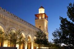De moskee van koningshussein bin talal in Amman (bij nacht), Jordanië Stock Afbeeldingen