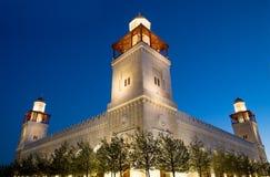 De moskee van koningshussein bin talal in Amman (bij nacht), Jordanië Stock Afbeelding