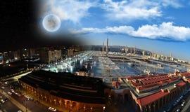 De Moskee van Nabawi in Medina bij nacht en dag royalty-vrije stock afbeeldingen
