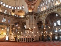 De moskee van Suleymaniye in Istanboel, Turkije stock afbeelding