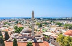 De Moskee van Suleymaniye Oude Stad rhodos Griekenland Royalty-vrije Stock Fotografie