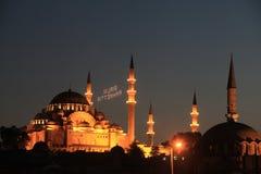 De Moskee van Suleymaniye in Ramadan stock foto's