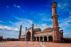 De moslimmoskee van Jama Masjid in India Delhi, India royalty-vrije stock afbeelding