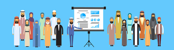 De moslimpresentatie Flip Chart Finance, Arabisch Indisch Zakenlui Team Training Conference van de Bedrijfsmensengroep Stock Foto