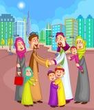 De moslimvrienden van de familiegroet Stock Afbeeldingen