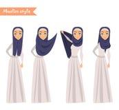 De moslimvrouw draagt hijab Royalty-vrije Stock Foto