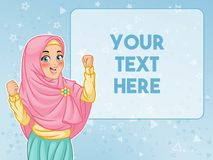De moslimvrouw toont een overwinningsgebaar
