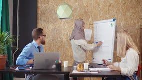 De moslimvrouw trekt grafiek op groot blad in bureau, kijken haar collega's stock videobeelden