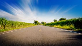 De motie op mooie weg gaat rechte blauwe hemel door Stock Afbeeldingen
