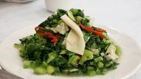 De motie van beweegt gebraden tofu en gezouten groenten op lijst stock footage