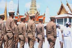 De Motie van Koninklijk Thais Leger om voorbereidingen te treffen voor woont de begrafenis van Koning Bhumibol Adulyadej King Ram Stock Fotografie