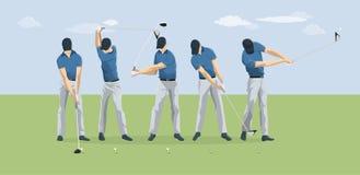 De moties van de golfspeler vector illustratie