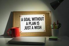 De motieven Bedrijfsuitdrukking/a-het doel zonder een plan zijn enkel een wens stock afbeeldingen