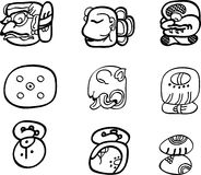 De motieven van Mexicaan, aztec of maya, glyphs Stock Afbeeldingen