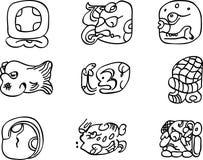 De motieven van Mexicaan, aztec of maya, glyphs Stock Afbeelding