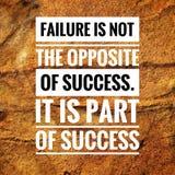 De motievencitaten van mislukking is niet het tegengestelde van succes Het maakt deel uit van succes royalty-vrije stock foto