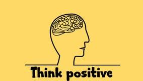 De motivatiedia, video met het trekken op menselijke die hersenen, denkt positief, ideeën in kleurrijke bloemen worden afgeschild vector illustratie