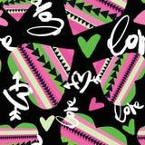 De motivatiepatroon van liefde naadloos meisjes Funky t-shirtdruk vector illustratie