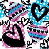 De motivatiepatroon van liefde naadloos meisjes Funky t-shirtdruk stock illustratie
