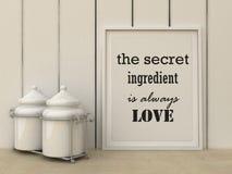 De motivatiewoorden het Geheime ingrediënt is altijd liefde Geluk, familie, huis, het koken concept Royalty-vrije Stock Foto