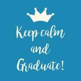 De motivation bleus gardent la carte de voeux de calme et de diplômé Images libres de droits