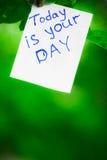 De motiverende uitdrukking vandaag is uw dag Op een groene achtergrond op een tak is een Witboek met een motiverende uitdrukking stock afbeelding