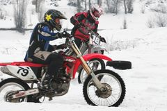 De motocross van de winter Royalty-vrije Stock Foto's