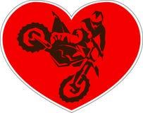 De motocrossbestuurders silhouetteren Vector illustratie Stock Foto's