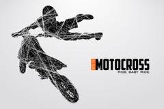 De motocrossbestuurders silhouetteren Vector illustratie royalty-vrije illustratie