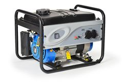 De motor con gasolina, diez caballos de fuerza, generador eléctrico de la emergencia aislado Imágenes de archivo libres de regalías