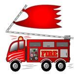 De Motor van de brandvrachtwagen met Ladder en Banner Stock Afbeelding